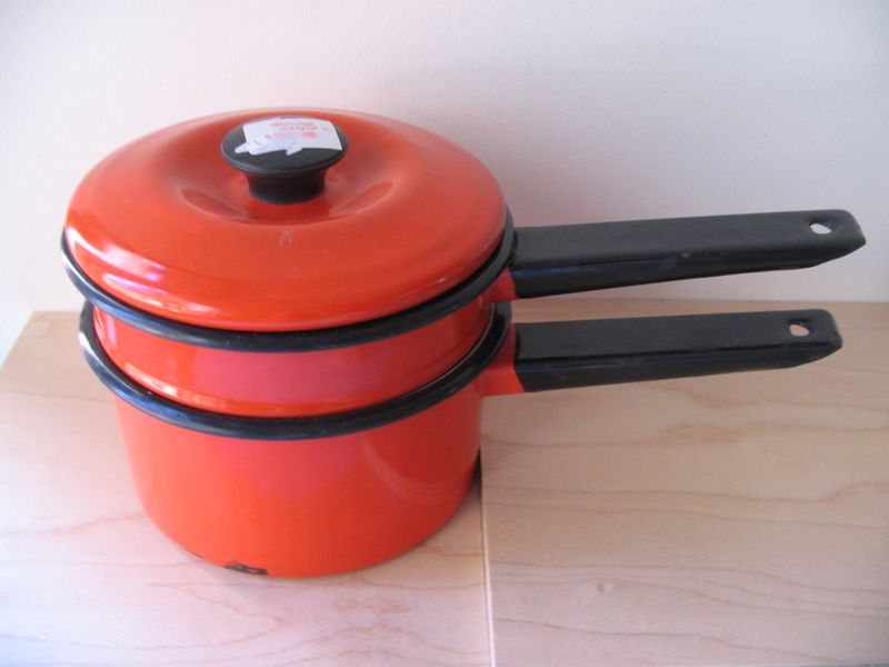 Orange Enamel Double Boiler, 1