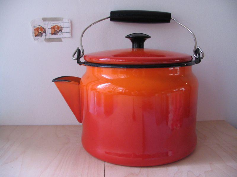 Orange Enamel Teapot
