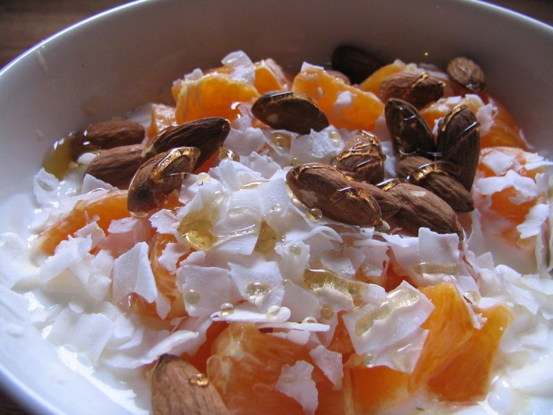 Yogurt,tangelo,coconut,almond,honey