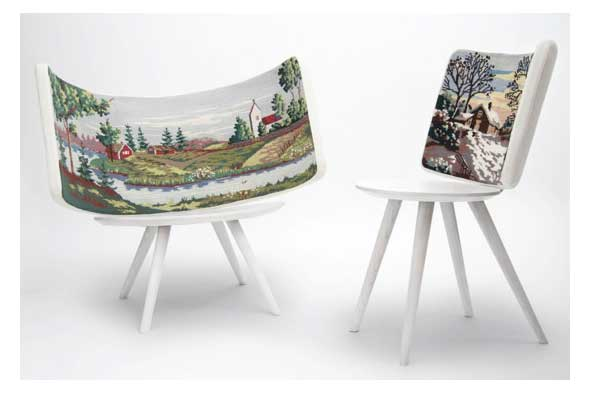 Embroidered chairs